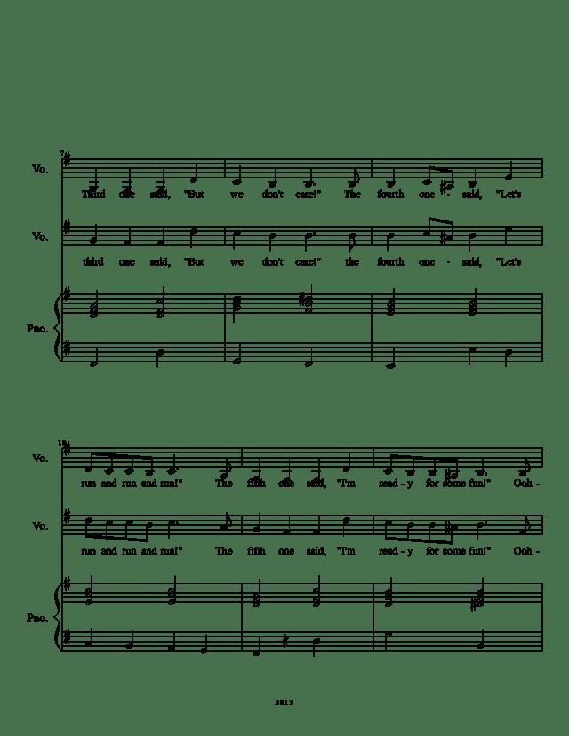 Five little Pumpkins sheet music page 2